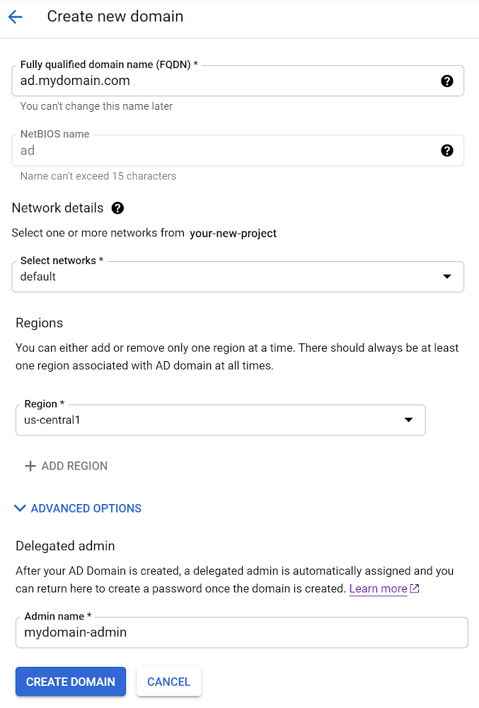 Creating a SQL Server instance integrated with Active Directory using Google Cloud SQL